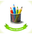 Education icon colored pencils vector image vector image