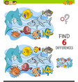 finding differences game with happy fish vector image vector image