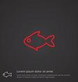 fish outline symbol red on dark background logo vector image vector image