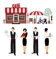 Flat young stylish male and female waiters vector image