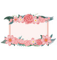 flower frame with pink flowers vector image