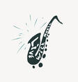 grunge label with saxophone vector image vector image