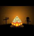 halloween bornfire graveyard skull cross zombie vector image vector image