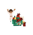 happy black boy and many christmas presents vector image