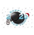 happy new year 2020 and hockey puck vector image vector image