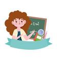 happy teachers day teacher blackboard book vector image vector image