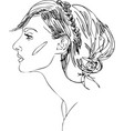 head of young woman one line design vector image vector image