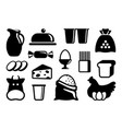 icons of dairy products eggs and groceries vector image