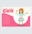 little girl in cute dress with brush and paint vector image
