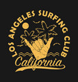 los angeles surfing club california grunge print vector image vector image
