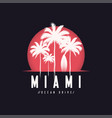miami ocean drive tee print with palm trees t vector image vector image