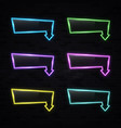 neon light rectangle arrow pointer set on black vector image vector image