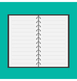 Open notepad with spiral and blank lined paper vector image vector image
