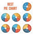 pie chart infographic 2 3 4 5 6 7 8 positions vector image vector image
