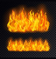 realistic fire or campfire bonfire on transparent vector image vector image