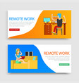 Remote work inscription on set banners workplace