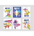 run fest posters set sport and competition vector image vector image