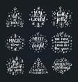 set of new year hand lettering on black background vector image vector image