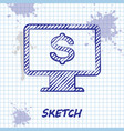 sketch line computer monitor with dollar icon vector image vector image