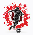 soccer player shooting a ball action vector image vector image