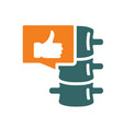 spine with thumb up in chat bubble colored icon vector image vector image