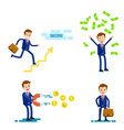successful businessman character set vector image vector image