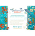 Summer cartoon marine life background vector image