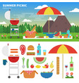 summer picnic in the mountains vector image vector image
