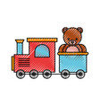 train toy with bear teddy vector image vector image
