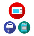 types of household appliances flat icons in set vector image