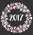 white and red 2017 laurel wreath frame on black vector image vector image