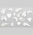 white cream smears swatch set heart leaf drop vector image vector image