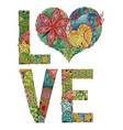 word love decorative zentangle object vector image vector image