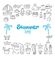 Cute hand drawn summer time collection Beach theme vector image