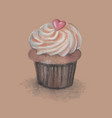 a cupcake stylized hand vector image