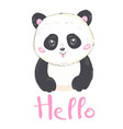 a cute cartoon giant panda is sitting on the vector image