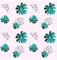 a leaf monstera and dots pink seamless pattern vector image