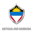 antigua and barbuda flag on metal shiny shield vector image