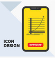 arrow chart curve experience goal glyph icon in vector image