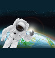 astronaut and earth poster vector image vector image