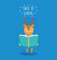 back to school education cute deer reading a book vector image vector image