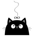 black cat head face looking at bow hanging on vector image vector image