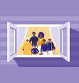 black family members in the window vector image