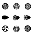 black turbines icon set vector image