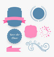 blue and pink wedding decoration elements vector image