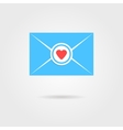 blue valentine letter with red heart stamp vector image vector image