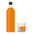 bottle of bourbon whiskey and glass with ice vector image vector image