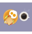 Breakfast with coffee sandwich and fried eggs Top vector image vector image