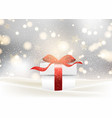 christmas gift background with glossy red bow vector image