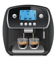 coffee machine with cups on white background vector image
